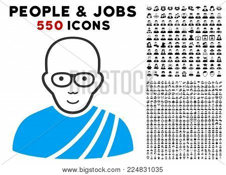 Joy Buddhist Monk vector pictograph with 550 bonus pity and happy jobs pictograms. Human face has joyful sentiment. Bonus style is flat black iconic symbols.