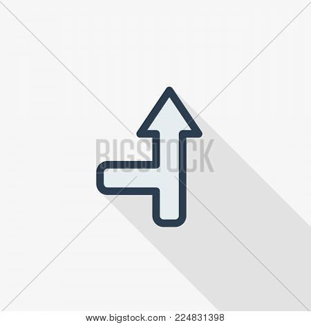 arrow up, direction, connecting thin line flat color icon. Linear vector illustration. Pictogram isolated on white background. Colorful long shadow design.