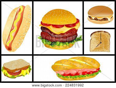 sandwiches and hamburgers set isolated on white background