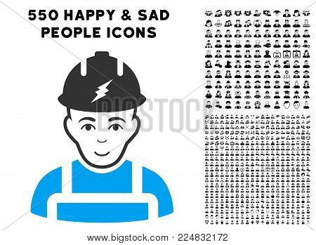 Joy Electrician vector pictogram with 550 bonus pity and glad person pictographs. Person face has enjoy sentiment. Bonus style is flat black iconic symbols.