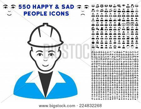 Glad Engineer vector pictogram with 550 bonus pitiful and glad men pictographs. Human face has joy mood. Bonus style is flat black iconic symbols.