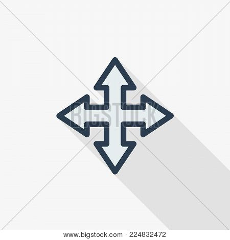 Arrow cross, four way thin line flat color icon. Linear vector illustration. Pictogram isolated on white background. Colorful long shadow design.