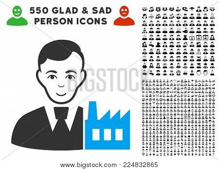 Glad Capitalist Oligarch vector pictograph with 550 bonus pitiful and glad men pictures. Human face has gladness emotions. Bonus style is flat black iconic symbols.