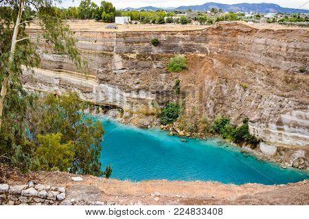 Unusual landscape of the Corinthian canal. Greece.