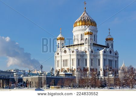 Moscow, Russia - February 01, 2018: Cathedral of Christ the Saviour with golden dome at sunny winter morning. Moscow in winter