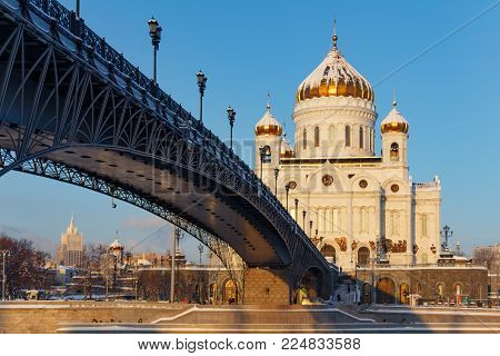 Moscow, Russia - February 01, 2018: Cathedral of Christ the Saviour on Patriarshiy Bridge background. Moscow in winter