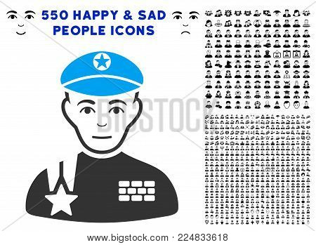Glad Army General vector icon with 550 bonus sad and glad jobs pictographs. Person face has gladness emotions. Bonus style is flat black iconic symbols.