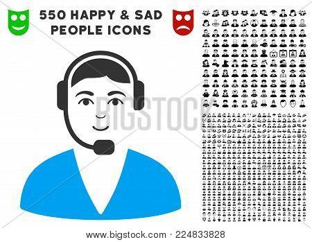 Joyful Call Center Operator vector icon with 550 bonus sad and happy user clip art. Person face has smiling sentiment. Bonus style is flat black iconic symbols.