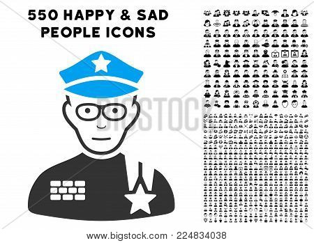 Joyful Army General vector pictograph with 550 bonus pitiful and happy people icons. Human face has glad emotion. Bonus style is flat black iconic symbols.