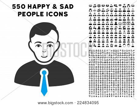 Enjoy Businessman vector pictograph with 550 bonus sad and happy person pictographs. Human face has smiling emotion. Bonus style is flat black iconic symbols.
