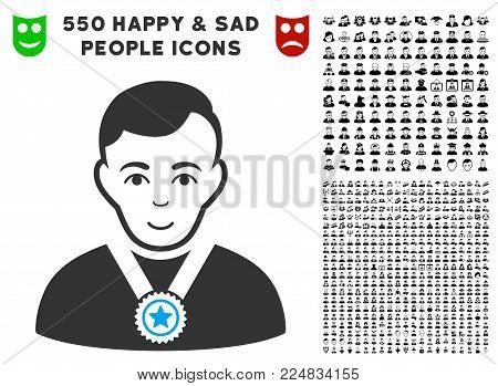 Happy Champion vector pictogram with 550 bonus sad and glad jobs pictographs. Human face has happy sentiment. Bonus style is flat black iconic symbols.