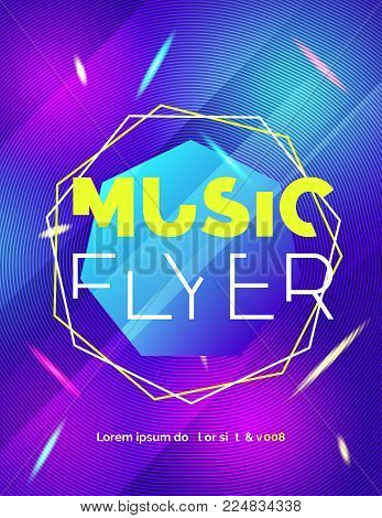 Modern Club Music Neon Beats Party Template, Dance Party musical Flyer, cover. Night electro Club Banner Poster