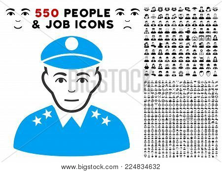 Gladness Army General vector pictogram with 550 bonus pity and happy men symbols. Human face has cheerful mood. Bonus style is flat black iconic symbols.