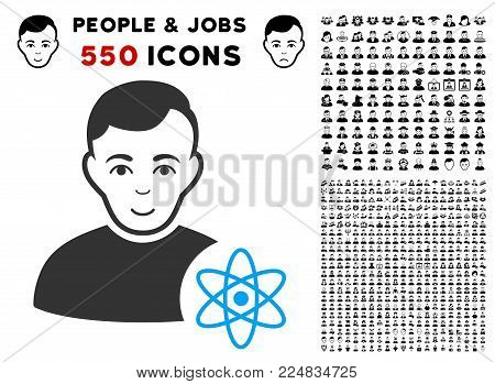 Gladness Atomic Scientist vector icon with 550 bonus pitiful and glad user images. Human face has glad feeling. Bonus style is flat black iconic symbols.