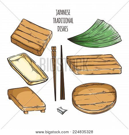 Vector collection of japan dishes and coockware. Set of wooden and bamboo stands and trays.