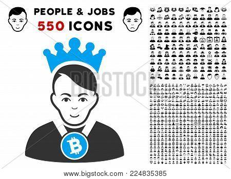 Glad Bitcoin Lord vector icon with 550 bonus pitiful and glad men images. Human face has joy emotions. Bonus style is flat black iconic symbols.