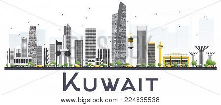 Kuwait City Skyline with Gray Buildings Isolated on White Background. Business Travel and Tourism Concept with Modern Buildings. Kuwait Cityscape with Landmarks.