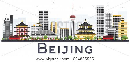 Beijing China City Skyline with Gray Buildings Isolated on White Background. Business Travel and Tourism Concept with Modern Buildings. Beijing Cityscape with Landmarks.