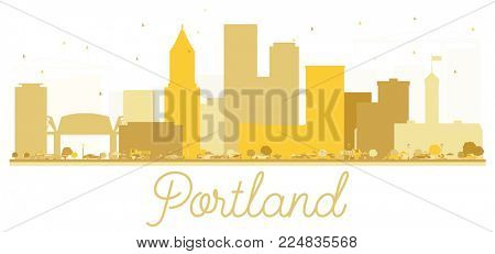 Portland Oregon USA City skyline golden silhouette. Simple flat concept for tourism presentation, banner, placard or web site. Portland Cityscape with landmarks.