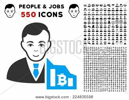 Happiness Bitcoin Trader vector pictograph with 550 bonus sad and glad user pictures. Human face has joy feeling. Bonus style is flat black iconic symbols.