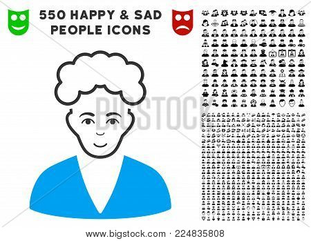 Cheerful Blonde Boy vector icon with 550 bonus pity and glad men graphic icons. Person face has smiling sentiment. Bonus style is flat black iconic symbols.