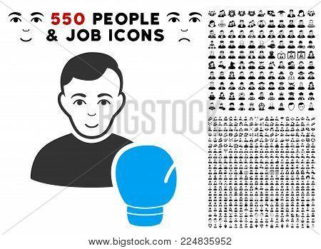 Glad Boxing Sportsman vector pictogram with 550 bonus pitiful and glad people graphic icons. Human face has joy sentiment. Bonus style is flat black iconic symbols.
