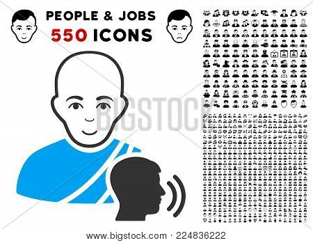 Gladness Buddhist Confession vector pictograph with 550 bonus sad and happy user graphic icons. Person face has glad emotion. Bonus style is flat black iconic symbols.