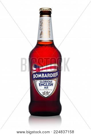 LONDON, UK - FEBRUARY 02, 2018: Cold bottle of Bombardier glorious english ale beer on white background.