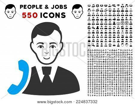 Joyful Call Manager vector icon with 550 bonus pitiful and happy men symbols. Person face has joyful emotion. Bonus style is flat black iconic symbols.