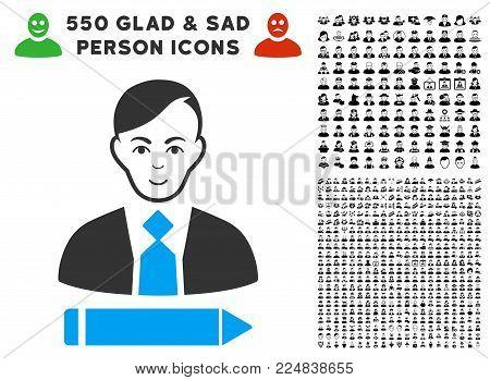 Glad Clerk vector pictogram with 550 bonus pitiful and happy jobs pictographs. Human face has glad mood. Bonus style is flat black iconic symbols.