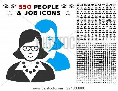 Joyful Clever Women vector pictograph with 550 bonus pitiful and glad user design elements. Human face has joy sentiment. Bonus style is flat black iconic symbols.
