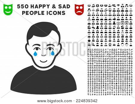 Enjoy Crying Boy vector pictogram with 550 bonus pity and glad people icons. Human face has gladness expression. Bonus style is flat black iconic symbols.