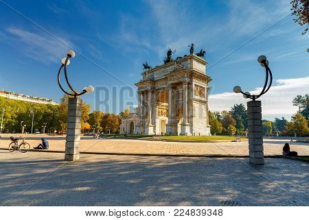 View of the triumphal arch. Arch of Peace. Milan. Italy