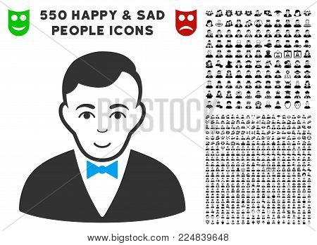 Happy Dealer vector pictograph with 550 bonus pitiful and happy jobs pictures. Human face has positive expression. Bonus style is flat black iconic symbols.