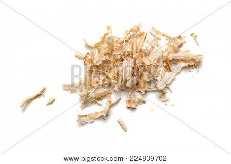 Wood shavings, sawdust on white background