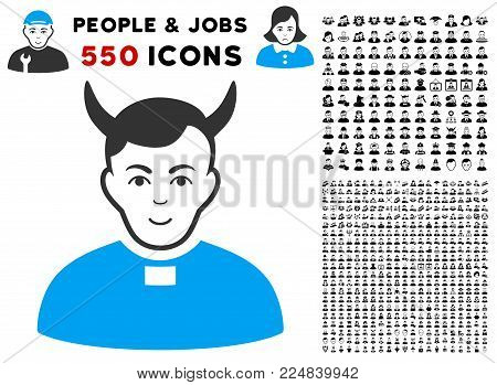 Glad Devil Priest vector pictogram with 550 bonus pitiful and happy user graphic icons. Human face has glad emotions. Bonus style is flat black iconic symbols.