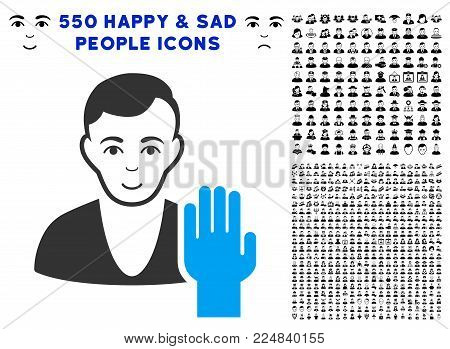 Joyful Elector vector pictogram with 550 bonus pitiful and glad person pictures. Human face has enjoy emotions. Bonus style is flat black iconic symbols. poster