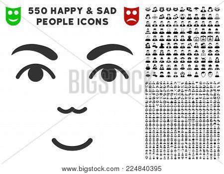 Joy Face vector pictogram with 550 bonus pitiful and happy people symbols. Person face has enjoy sentiment. Bonus style is flat black iconic symbols.
