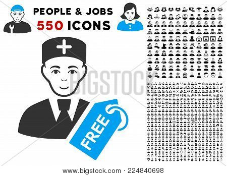 Glad Free Doctor vector icon with 550 bonus pity and glad user pictures. Human face has enjoy sentiment. Bonus style is flat black iconic symbols.