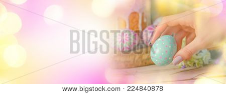 Easter Banner With Easter Eggs And Easter Cake