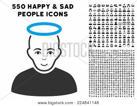 Cheerful Holy Man vector icon with 550 bonus pity and happy people pictograms. Human face has enjoy sentiment. Bonus style is flat black iconic symbols.