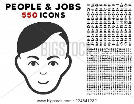 Gladness Human Head vector icon with 550 bonus pitiful and happy people pictograms. Human face has glad expression. Bonus style is flat black iconic symbols.