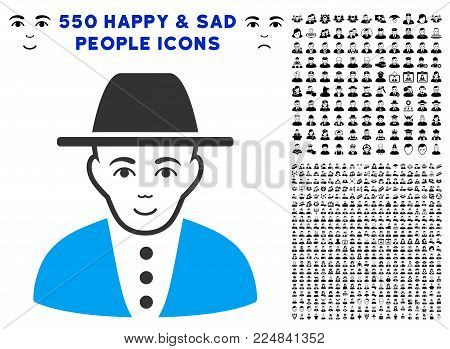 Cheerful Jew vector icon with 550 bonus pitiful and happy user pictographs. Human face has glad mood. Bonus style is flat black iconic symbols.