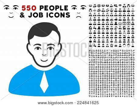 Happy Lawyer vector icon with 550 bonus pity and glad user icons. Person face has gladness emotions. Bonus style is flat black iconic symbols.