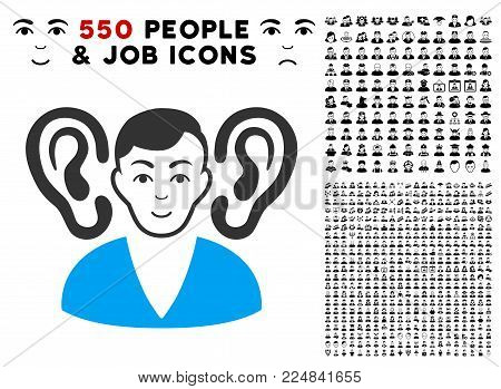 Positive Listener vector pictograph with 550 bonus pitiful and happy men graphic icons. Person face has positive feeling. Bonus style is flat black iconic symbols.