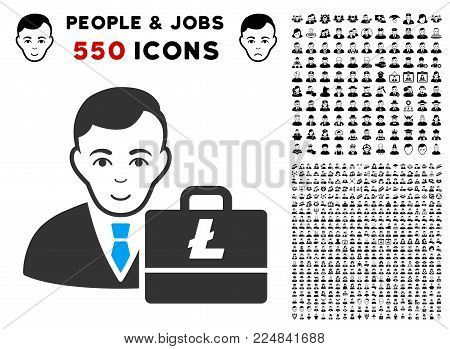 Enjoy Litecoin Accounter vector pictogram with 550 bonus sad and happy jobs images. Person face has glad emotion. Bonus style is flat black iconic symbols.