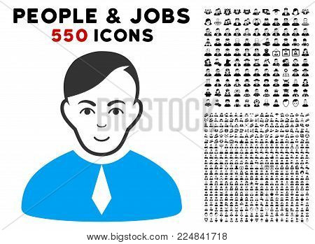 Cheerful Loyer vector icon with 550 bonus pitiful and happy jobs pictograms. Person face has glad sentiment. Bonus style is flat black iconic symbols.