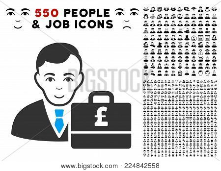 Smiling Pound Sterling Accounter vector pictograph with 550 bonus pitiful and happy person icons. Human face has positive feeling. Bonus style is flat black iconic symbols.