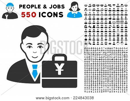 Happiness Yuan Accounter vector pictograph with 550 bonus pity and happy people pictures. Person face has happy mood. Bonus style is flat black iconic symbols.