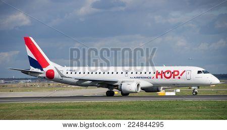 Frankfurt - October 27 2016 : Air France Hop Taking Off From Frankfurt Am Main. Société Hop! Is The